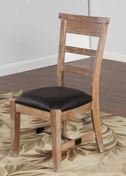 2 Sandalwood Ladder Back And Cushion Seat Armless Side Chairs 1604SW