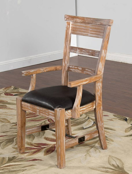Sandalwood Ladder Back And Cushion Seat Track Arms Chair 1605SW