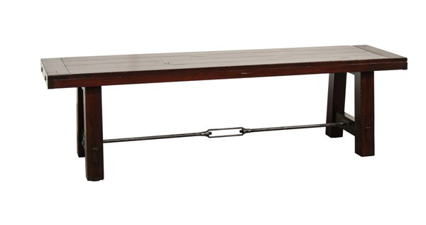Vineyard Rustic Mahogany Wood Armless And Backless Solid Seat Bench 1615RM