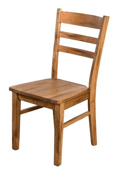 2 Sedona Rustic Oak Wood Solid Seat Armless And Ladder Back Chairs 1616RO
