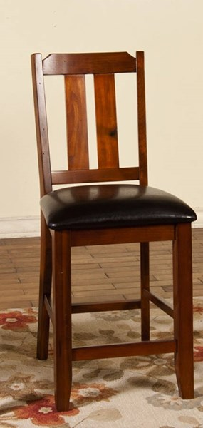 2 Route 66 Brown Cherry Wood Slat Back Cushions Barstools 1871BC-24