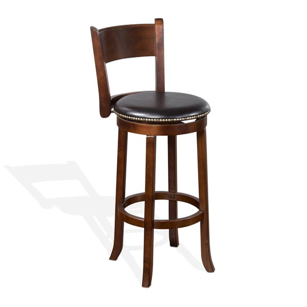 2 Cappuccino Wood Solid Back 30 Inch Swivel Barstools 1883CA