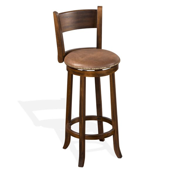 2 Santa Fe Dark Chocolate Wood Cushion Seat Swivel 30 Inch Barstools 1883DC