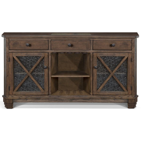 Savannah Antique Charcoal Wood Open Storage Drawers And Shelves Server 1932AC
