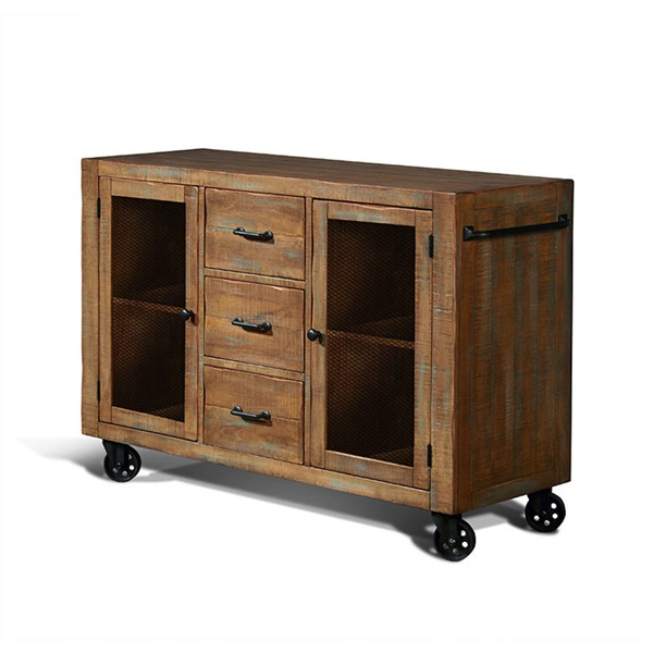 Puebla Driftwood Rolling Three Drawers And Two Shelves Server 1961DW