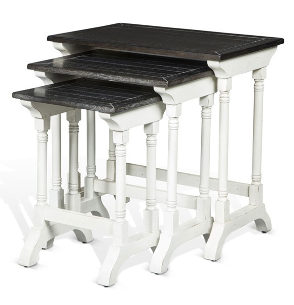 Sunny Designs Carriage House Off White Dark Brown 3pc Nesting Table Set 2024EC