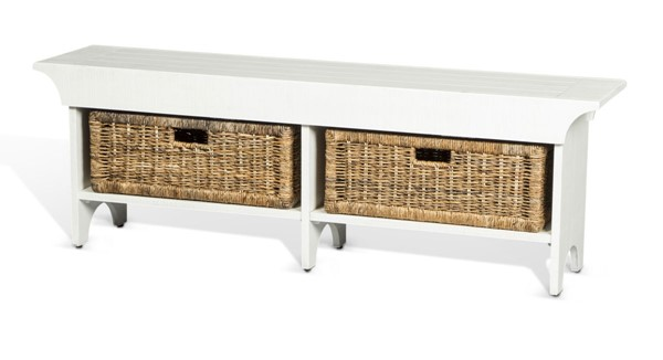 Sunny Designs Manor House White Short Bench 2025RB-S