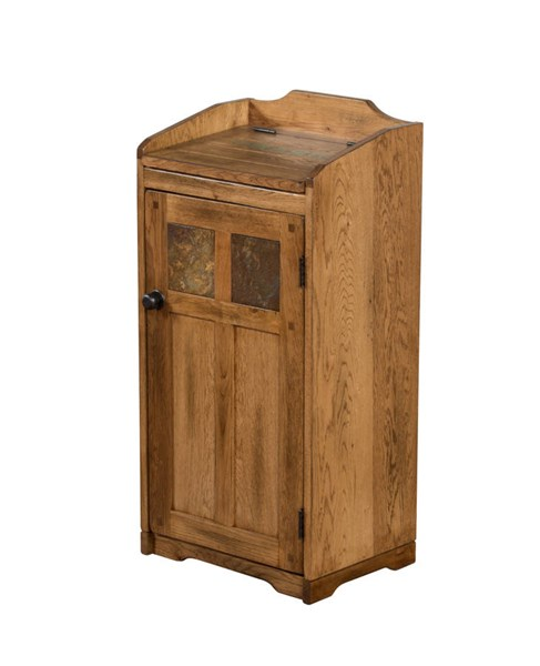 Sedona Rustic Oak Wood Distressed Finish Trash Box 2110RO