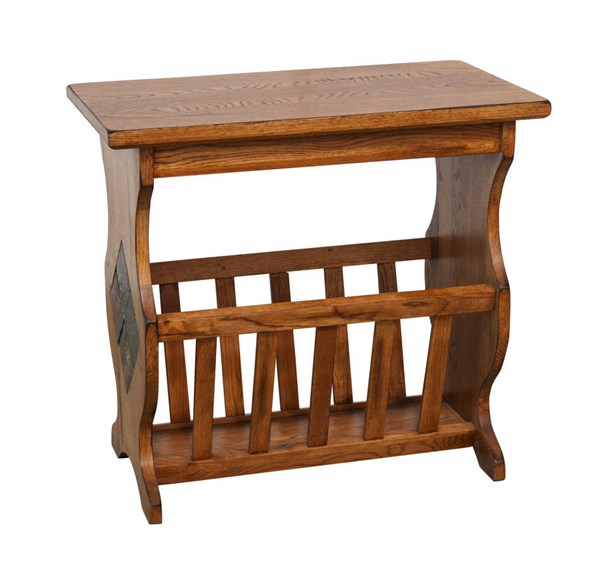 Sedona Rustic Oak Wood Pockets Magazine Table 2133RO