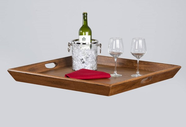 Laguna Rustic Oak Wood Handle Square Ottoman Tray 2195RO