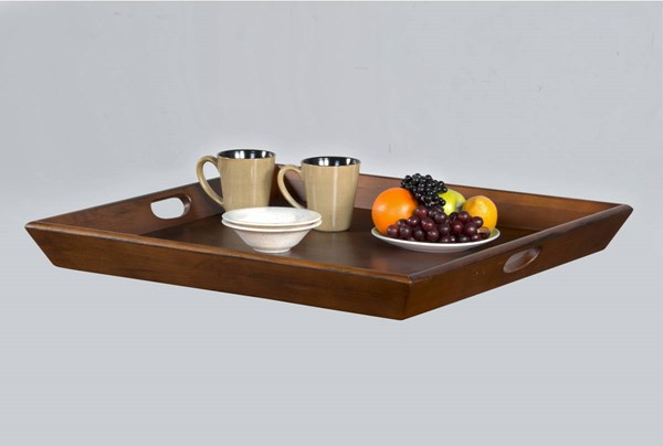 Laguna rustic warm cherry wood handle square ottoman tray