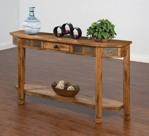 Sedona Rustic Oak Wood Storage Rectangle Entry Console 2224RO