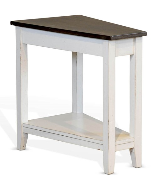 Sunny Designs Carriage House Off White Dark Brown Chair Side Table 2226EC