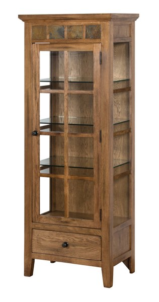 Sedona rustic oak wood glass doors three shelves curio