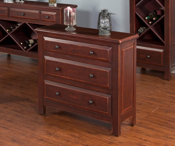 Red Wood Bachelors Chest W/Vintage Designer Paint 2270R-BC