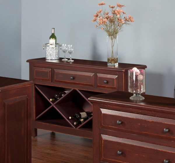 Red Wood Rectangle Accent Sofa Table W/Drawers 2270R-S