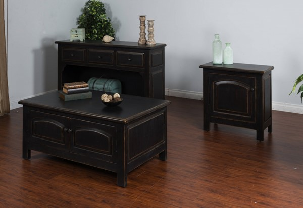 Black Wood Rectangle Storage Coffee Table Set 2271B-OCT