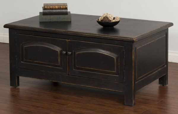Black Wood Storage Rectangle Accent Coffee Table 2271B-C