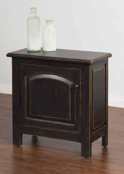 Black Wood Storage Rectangle Accent End Table 2271B-E
