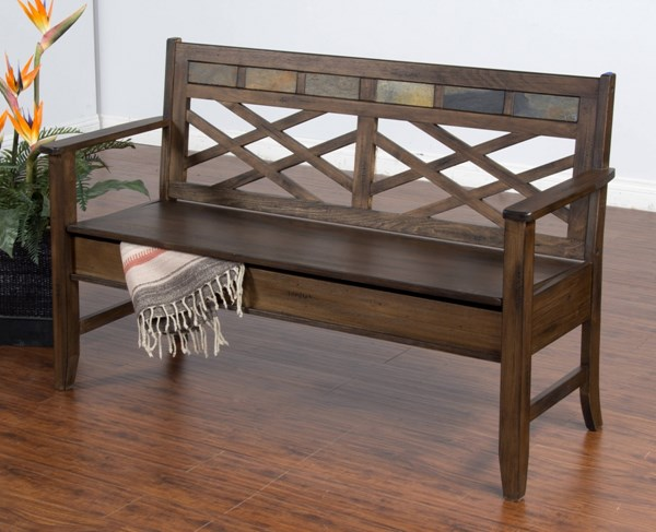Savannah Antique Charcoal Wood Track Arms Storage Bench 2276AC