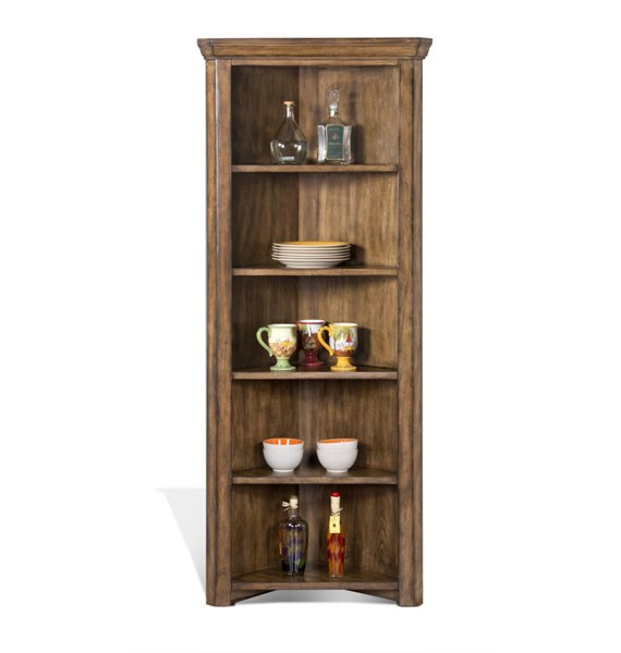 Cornerstone Burnished Mocha Wood Corner Curio/ Bookcase 2288BM