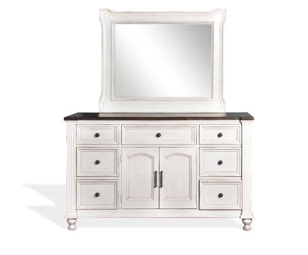 Sunny Designs Carriage House Off White Dark Brown Dresser and Mirror 2308EC-DRMR