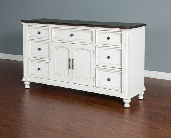 Sunny Designs Carriage House Off White Dark Brown Dresser 2308EC-D