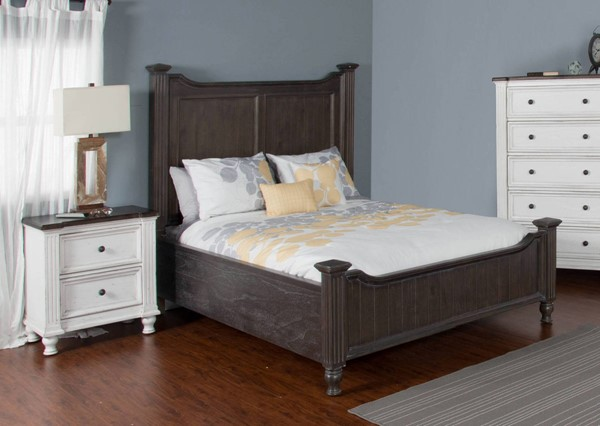 Sunny Designs Carriage House Off White Dark Brown 2pc Bedroom Set with King Bed 2308EC-BR-S1