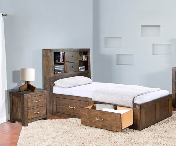 Sunny Designs Flex Life Ranch House Dark Brown 2pc Bedroom Set with Full Captains Bed 2319TL-SF-KBR-S1