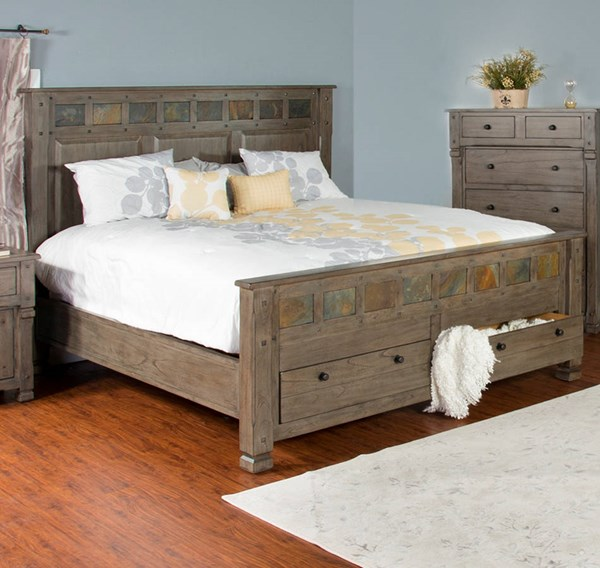 Sunny Designs Scottsdale Cadet Gray Storage Beds 2322CG-SBED