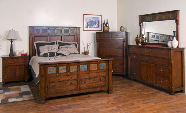Santa Fe Dark Chocolate Wood 2pc Bedroom Set W/King Storage Bed 2322DC-S2
