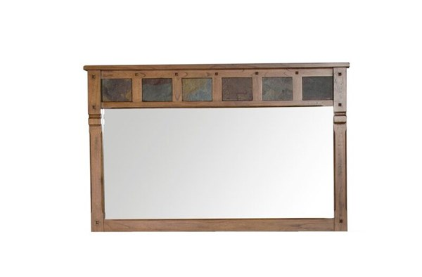 Sedona Rustic Oak Wood Glass Landscape Mirror 2322RO-M
