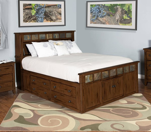 Santa Fe Dark Chocolate Wood King Panel Storage Bed 2334DC-SEK