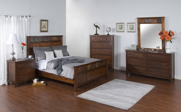 Santa Fe Dark Chocolate Wood Glass 2pc Bedroom Sets W/Panel Bed 2334DC-BR-S