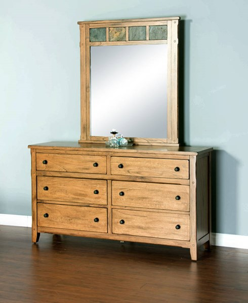Sunny Designs Sedona Petite Light Brown Dresser And Mirror 2334RO-DRMR