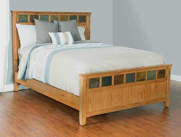 Sedona Rustic Oak Wood Petite Queen Panel Bed 2334RO-Q