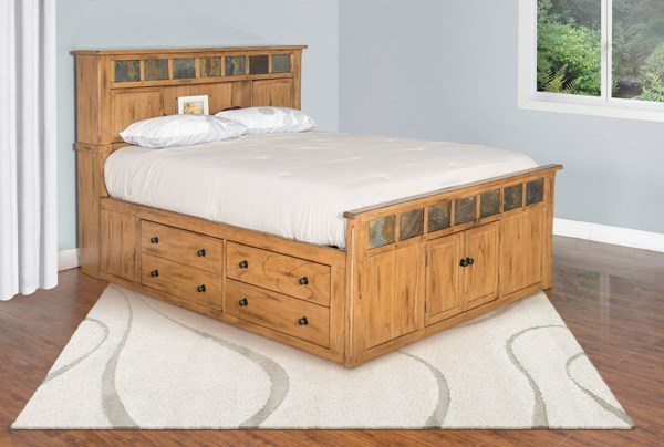 Sedona Rustic Oak Wood Panel Storage Beds w/Slate 2334RO-SQ-VAR