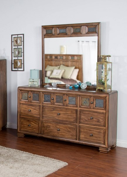 Coventry Wood Square Knobs Dresser & Mirror 2378BM-DRMR