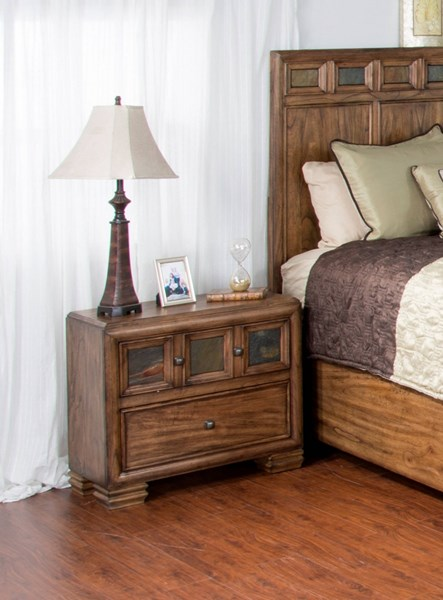 Coventry Wood Nightstand W/Square Decorative Knobs 2378BM-N