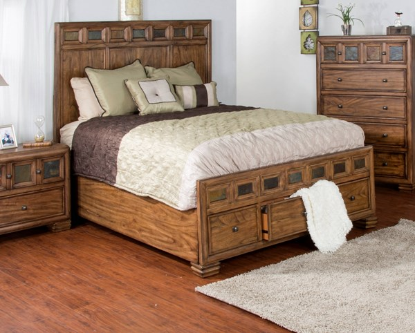 Coventry Wood Queen Storage Bed W/Square Decorative Knobs 2378BM-Q