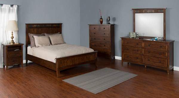Santa Fe Dark Chocolate Wood Glass Master Bedroom Set 2395DC-BR
