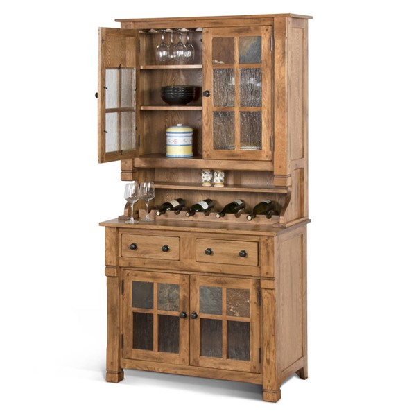 Sedona Traditional Rustic Oak Wood Glass Hutch Only 2412RO-H