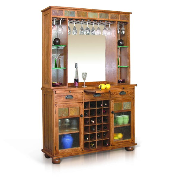 Sedona Traditional Rustic Oak Wood Two Drawers Server And Back Bar 2413RO