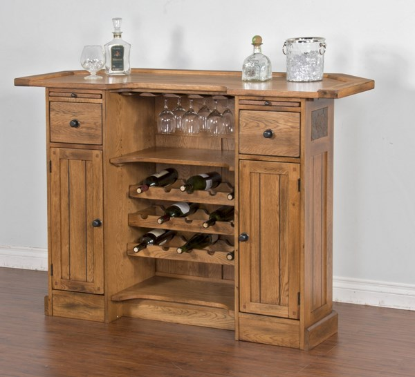 Sedona Rustic Oak Wood 2 Doors 3pc Counter Height / Bar Set K2421RO