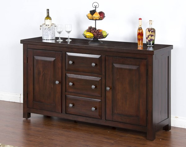 Vineyard Rustic Mahogany Wood Buffet Only 2428RM-B