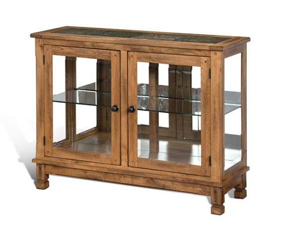 Sedona Traditional Rustic Oak Wood Glass Doors Console Curio Cabinet 2503RO