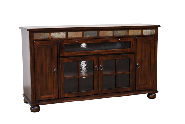 Santa Fe Traditional Dark Chocolate Wood Counter Height TV Console 2728DC