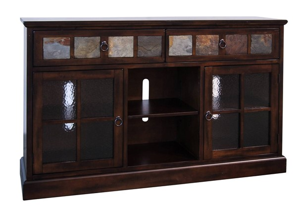 Sunny Designs Santa Fe Dark Brown Glass Door TV Console 2733DC