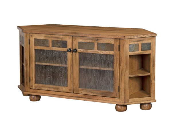 Sedona Rustic Oak Wood Door Shelves Corner TV Console 2741RO-TC
