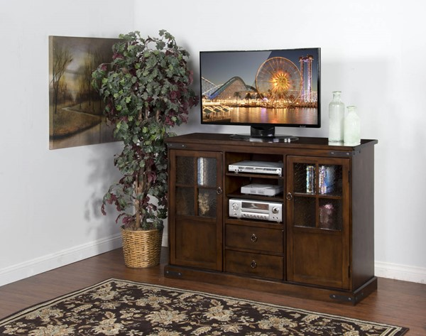 Santa Fe Dark Chocolate Wood Drawers And Shelves 60 Inch TV Console 2794DC